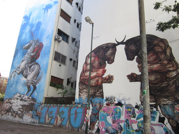 These walls were created as part of an international street art festival in Buenos Aires. They are always changing and getting painted over. Wall space is a hot commodity.