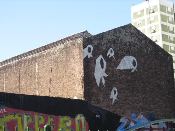 "Again, most street art is not political but this piece is. It represents Madres de Plaza de Mayo, an association of Argentine mothers whose children ""disappeared"" during the Dirty War of the military dictatorship (1976-83)"