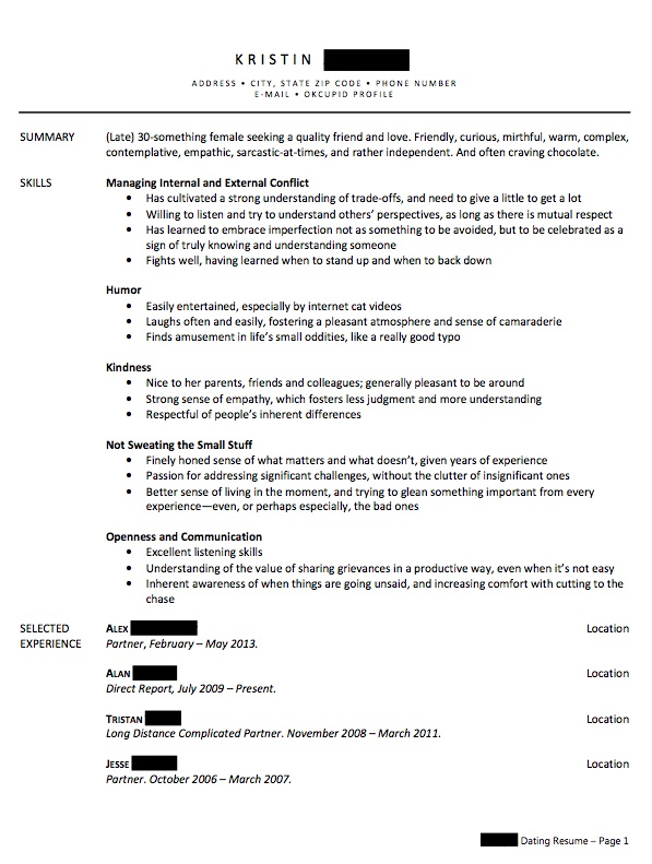 write a relationship resume to remind yourself what you do know--and counter your single shame
