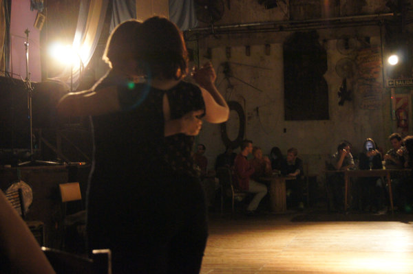 Amanda practices with Nele, our guide extraordinaire, at La Catedral in Buenos Aires