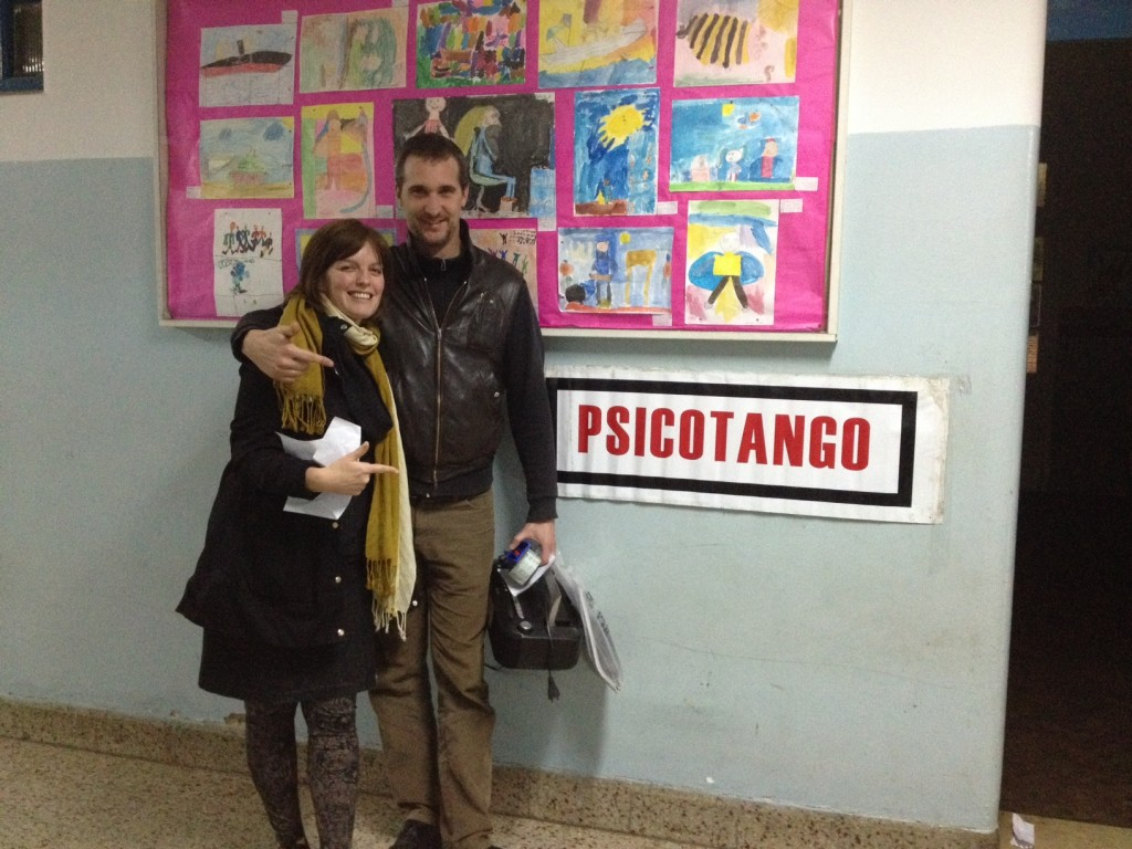 Outside the workshop, Sasha and Iganacio, psicotango co-founder